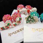 Front/Back Red & Green Shiney Ball Earring w/ Epoxy Christmas Figure .54 ea
