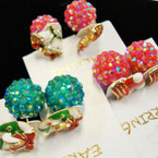Front/Back Red & Green Shiney Ball Earring w/ Epoxy Christmas Figure .54 prea