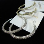 "1.5"" Gold & Silver 3/4 Hoop Earrings w/ Clear & AB Crystal Stones .54 ea"