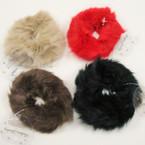 """3.5"""" Asst Color Faux Fur Ponytail Holders .40 ea"""