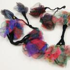 CLOSEOUT DBL Chiffon Flower Ponytail Wraps 12 per pk @ .21ea