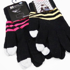 Striped  Magic Knit Gloves w/ Gray Touch Screen Tips ONLY .58 per pair