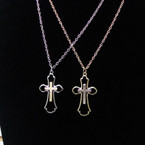 "20"" Gold & Silver Chain Necklace w/ Two Tone Cross Pendant .54 ea"
