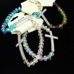 Glass Crystal Bead Stretch Bracelets w/ Cry. Stone Silver Cross  .54 ea