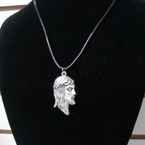 "16""-18"" Leather Cord Necklace w/ JESUS Face Pendant .54 ea"