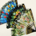 "9"" Black Hand Fan w/ Asst Color Flower Prints  12 per pk .54 ea"