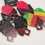 "3"" Multi Tone Color African Lady Wood Earrings .54 ea"