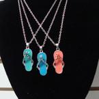 Silver Chain Necklace Set w/ Asst Color  Cry. Stone Flip Flop Pendants .58 ea