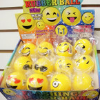 "2"" Asst Style Emoji Light Up Fun Balls 12 per display bx .57 ea"