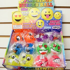 "2"" Asst Style & Color Emoji Light Up Fun Balls 12 per display bx .57 ea"