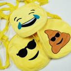 "10"" Round EMOJI Zipper Bags w/ Long Strap 12 per pk $ 2.08 ea"