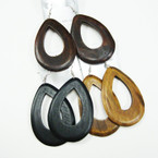 "Big 3"" Natural Color Oval Wood Fashion Earring .54 ea"