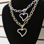 "16"" Gold & Silver Link Chain Necklace w/ Rhinestone Heart Pend. .60 ea"