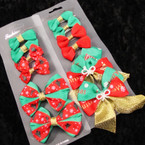 6 Pack Christmas Theme Bows on Gator Clip .52 per set