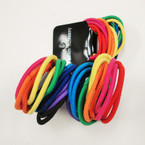 18 Pack Asst Color Hair Elastic Ponytailers .54 per pk