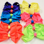"5"" Mixed Neon Color Fashion Gator Clip Bows .54 ea"