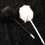 "8.5"" Fashion Pen w/ 3"" Pom Pom Black & White per pack .58 ea"