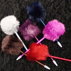 "8.5"" Fashion Pen w/ 3"" Pom Pom Dark Colors  per pack .58 ea"
