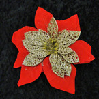 "8"" Red Felt w/ Gold Flower  3 in 1 Poinsettia Bow  .58 ea"