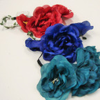 "7"" Wide Fall Color Flower Headbands w/ Elastic Back & Pearls .54 ea"