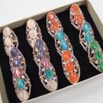 Triple Cat's Eye Look Bead & Crystal Stone Fashion Rings .54 ea