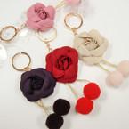 Felt Rose w/ Pom Pom's Fashion Keychains .54 ea