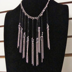 Fashion Necklace Gold & Silver w/ Bib Drop 2 Colors .56 ea