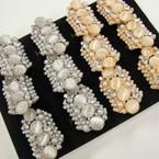 Chunky Pearl & Crystal Fashion Rings 2 colors .54 ea