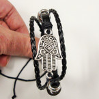 Triple Strand Teen Leather Bracelet w/ Silver Hamsa .50 ea