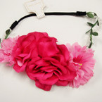 "Trendy 7"" Flower Headbands w/Pearls Winter Colors .54 ea"