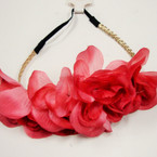 "Trendy 8"" 4-Flower Headbands w/ Elastic Back  Winter Colors .54 ea"