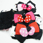 "1.5"" Crochet Headwrap w/ Triple Layer Bow w/ Poka Dots .54 ea"