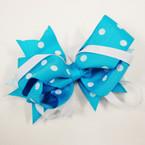 """5"""" Blue & White Gator Clip Ribbon Bows Frozen Style .52 ea"""
