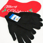Great Quality Soft Knit Magic Gloves  All Black  .54 per pair