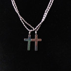 "20"" Hematite Magnetic Closure Necklace w/ Plain Cross Pend 24 per pk .33 ea"