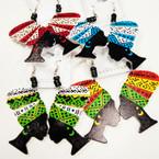 """2.75"""" Multi African Lady Wood Earrings w/ Mini Beads  .54 ea"""