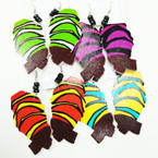 "3"" Multi African Lady Wood Earrings w/ Mini Beads  .54 ea"