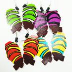 """3"""" Multi African Lady Wood Earrings w/ Mini Beads  .54 ea"""