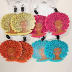 "2.5"" Wood Salon Hair Fashion Earring Asst Colors .54 ea"