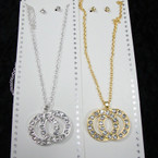 Gold & Silver Neck Set w/ DBL Crystal Stone Circle Pendant .56 per set