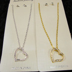 Silver & Gold Chain Neck Set w/ Crystal Stone Heart Pendant .56 per set