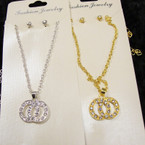 Silver & Gold Necklace  Set w/ DBL Crystal Stone Circle Pendant .56 per set