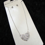 Silver Chain Neck Set w/ Crystal Stone Heart Pendant   .56 per set