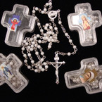 "36"" White Mini Pearl Rosary w/ Silver Cross in Keepsake Cross BX .54 ea"