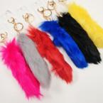 "Huge 7"" Faux Fur Mixed Color Keychains/Purse Charm .58 ea"