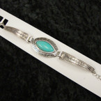 Cast Silver Fashion Bracelets w/ Turq. Stone 12 per pk   .56 ea