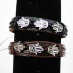 Teen Leather Bracelet Blk & Brown w/ Triple Silver Hamsa .54 ea