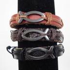 Teen Leather Bracelet Blk & Browns w/ Hematite JESUS Fish   .54 ea