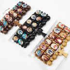 3 Pack Wood Bracelets w/ Saint Pictures plus Cross Bracelet .54 per set