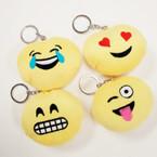 "3.5"" Plush Pillow Emoji Theme Keychains (8) 12 per pk .54 ea"